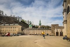 Salzburg Cathedral Dom zu Salzburg in spring, Austria. The cathedral of Salzburg dominates the image of the old town with its striking, two-towered façade and royalty free stock image