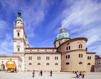 Salzburg Cathedral Dom zu Salzburg in spring, Austria. The cathedral of Salzburg dominates the image of the old town with its striking, two-towered façade and royalty free stock photo