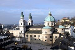 Salzburg cathedral exterior view from height. Stock Image
