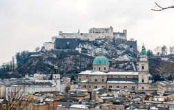 Salzburg Cathedral and Hohensalzburg Castle, Austia Stock Images