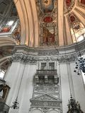 Salzburg cathedral. With its magnificent facade and huge round roof embodies the characteristic of the early baroque style majestic Alps side.Constitute the stock photo