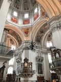Salzburg cathedral. With its magnificent facade and huge round roof embodies the characteristic of the early baroque style majestic Alps side.Constitute the stock photography