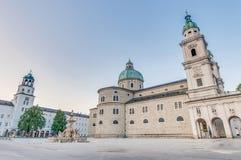 Salzburg Cathedral in Residenzplatz, Austria Stock Photos