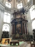 Salzburg cathedral. With its magnificent facade and huge round roof embodies the characteristic of the early baroque style majestic Alps side.Constitute the stock image