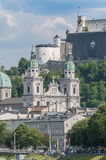 Salzburg cathedral seen from Salzach river, Austria Royalty Free Stock Photos