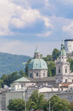 Salzburg cathedral seen from Salzach river, Austria Royalty Free Stock Photography
