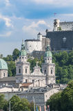 Salzburg cathedral seen from Salzach river, Austria Stock Image
