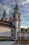 Salzburg Cathedral is the seventeenth-century Baroque cathedral of the Roman Catholic Archdiocese of Salzburg in the city of royalty free stock image