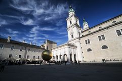 Salzburg with blue sky at cathedral church square. Salzburg cathedral church square with blue sky Royalty Free Stock Photo