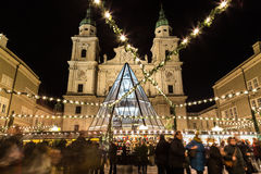 Salzburg Christmas Market at Night Stock Photography