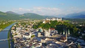 Salzburg city aerial view stock video footage