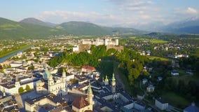 Salzburg city aerial view stock footage