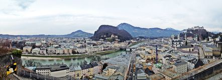 Salzburg city in birds eyes view. Salzburg city along Salzach river and also can see Salzburg castle Royalty Free Stock Images