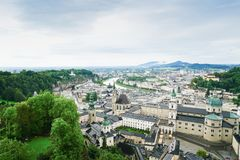 Salzburg city from high point of view in Salzburg Fort and castl Royalty Free Stock Photos