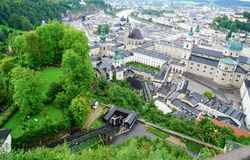 Salzburg city from high point of view in Salzburg Fort and castl Stock Photo