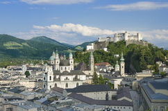 Salzburg City Historic Center With Cathedral Stock Photos