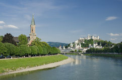 Salzburg City Historic Center And Evangelical Christ Church Royalty Free Stock Photos