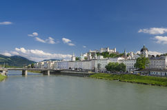 Salzburg City Historic Center Panorama Royalty Free Stock Image
