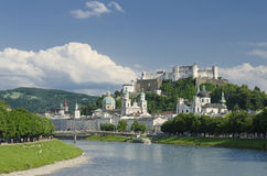 Salzburg City Historic Center Panorama View Stock Photo