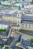 Salzburg city from high point of view in Salzburg Fort and castl Royalty Free Stock Image