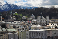 Salzburg cityscape and the Alps, Austria. Stock Photos