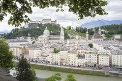 Salzburg cityscape with cathedral and fortress, Austria Royalty Free Stock Photography