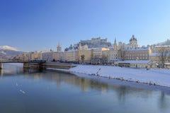 Salzburg in de Winter Royalty-vrije Stock Foto's