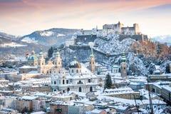 Salzburg in de winter, Salzburger-Land, Oostenrijk Royalty-vrije Stock Afbeeldingen