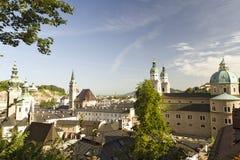 Salzburg an der Dämmerung Stockbild