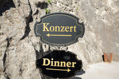 Salzburg - a difficult choice between the concert and the food in Salzburg. Austria Stock Image