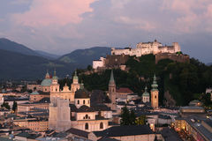 Salzburg at dusk Stock Images