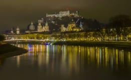Salzburg em Noite Imagens de Stock