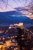 Salzburg en kasteel Hohensalzburg - Oostenrijk Royalty-vrije Stock Foto's