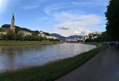 Salzburg, estado federal de Salzburg/Áustria; 06/09/2018: vista panorâmica da cidade velha de Salzburg imagem de stock royalty free