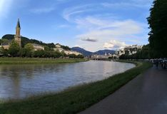 Salzburg, Federal State of Salzburg/Austria; 06/09/2018: panoramic view of Salzburg old town royalty free stock image