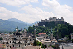 Salzburg with Festung. Colorful and crisp image of salzburg with Festung Stock Photo