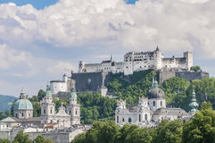 Salzburg Fortress (Festung Hohensalzburg) seen from Salzach rive Royalty Free Stock Image