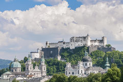 Salzburg Fortress (Festung Hohensalzburg) seen from Salzach rive Stock Images