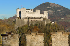 Salzburg Fortress Hohensalzburg in Austria and Castle Wall Royalty Free Stock Images