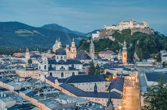 Salzburg general view as seen from Mönchsberg viewpoint, Austri stock images