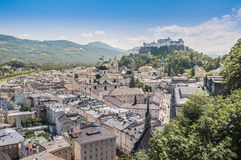 Salzburg general view from Mönchsberg viewpoint, Austria royalty free stock photography