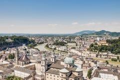 Salzburg general view from Salzburg Fortress (Festung Hohenzalsb stock photo