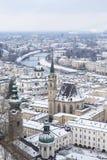 Salzburg i vinter Arkivbilder
