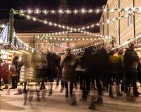 Salzburg julmarknad på natten Royaltyfri Fotografi