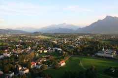 Salzburg landscape. Landscape with houses and green trees royalty free stock photos