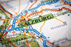 Salzburg miasto na Drogowej mapie obrazy stock