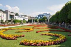 Salzburg Mirabell garden park castle center view Stock Photo