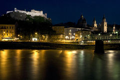 Salzburg By Night. Old Town Salzburg with Castle and Salzbach River at Night royalty free stock image
