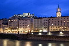 Salzburg at night. With a long exposure Royalty Free Stock Photography