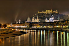 Salzburg by night. View of austrian city Salzburg, known for Mozart, by night royalty free stock photo